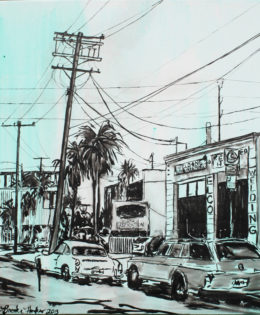 Abbot Kinney 1 | 24″ x 24″ x 2″ | ink & acrylic on canvas | by Brooke Harker | SOLD