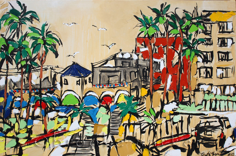 Venice Town | 24″ x 36″ x 1.75″ | ink, acrylic & oil on canvas | by Brooke Harker