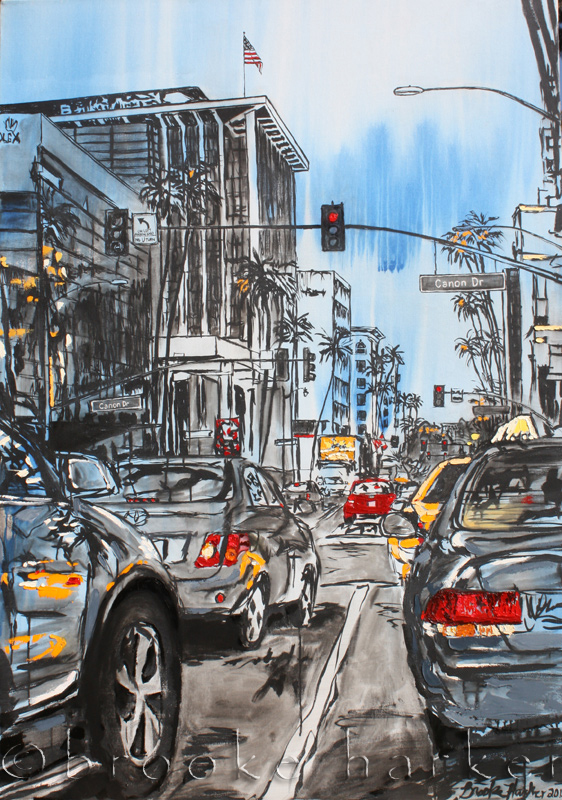 Beverly Hills Traffic | 66″ x 46″ x 3.75″ | ink, acrylic & oil on canvas | by Brooke Harker | SOLD