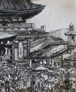 Tokyo Temple Umbrellas | 72″ x 51″ x 3.75″ | ink & acrylic on canvas | by Brooke Harker | SOLD