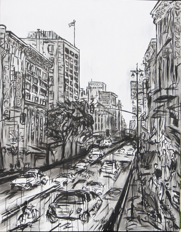 Afternoon Downtown 2 | 84″ x 66″ x 3.75″ | ink & acrylic on canvas | by Brooke Harker | SOLD