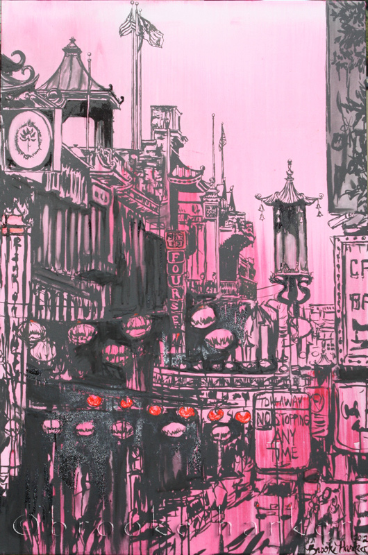 Sister Chinatown | 50″x 33″ x 2.75″ | ink, oil & acrylic on canvas | by Brooke Harker | SOLD