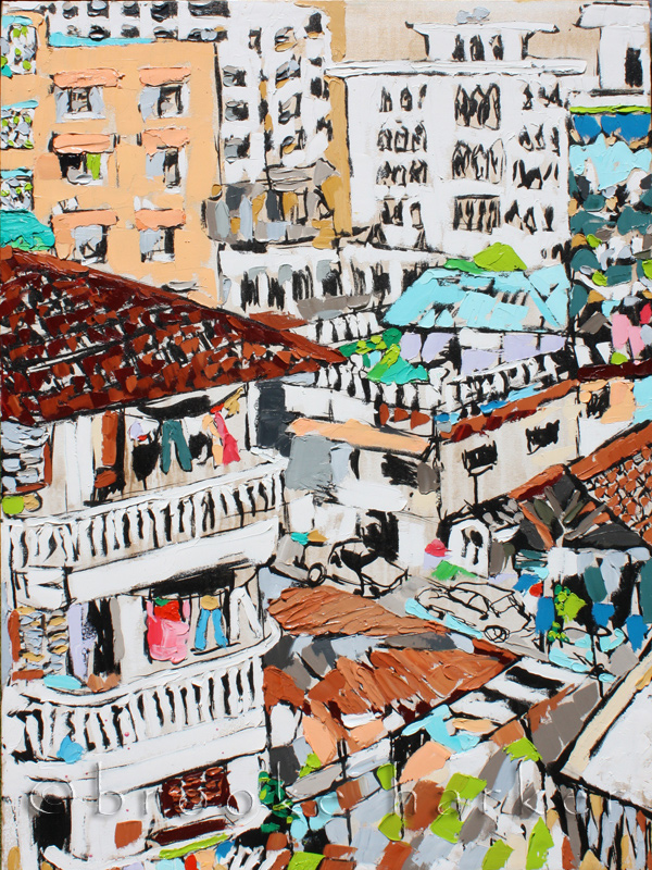 Tanzania Terraces | 48″ x 36″ x .75″ | ink, oil & acrylic on canvas | by Brooke Harker | SOLD