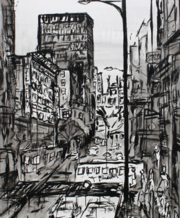 Angel City 1 | 64″ x 48″ x 2″ | ink and acrylic on canvas | by Brooke Harker | SOLD