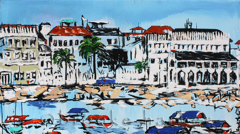 Tanzania Harbor | 34″ x 61.5″ | ink, oil & acrylic on canvas | by Brooke Harker | SOLD