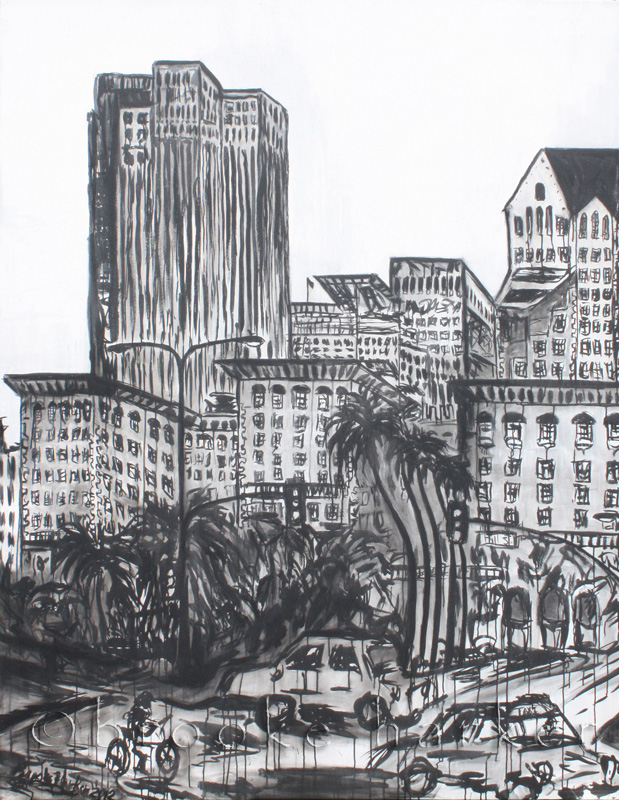 Pershing Square | 84 x 66 x 3.75 | ink & acrylic on canvas | by Brooke Harker | SOLD