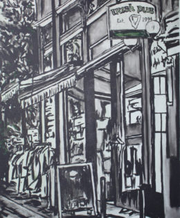 Irish Pub | 45″ x 22″ | ink & acrylic on canvas | by Brooke Harker | SOLD