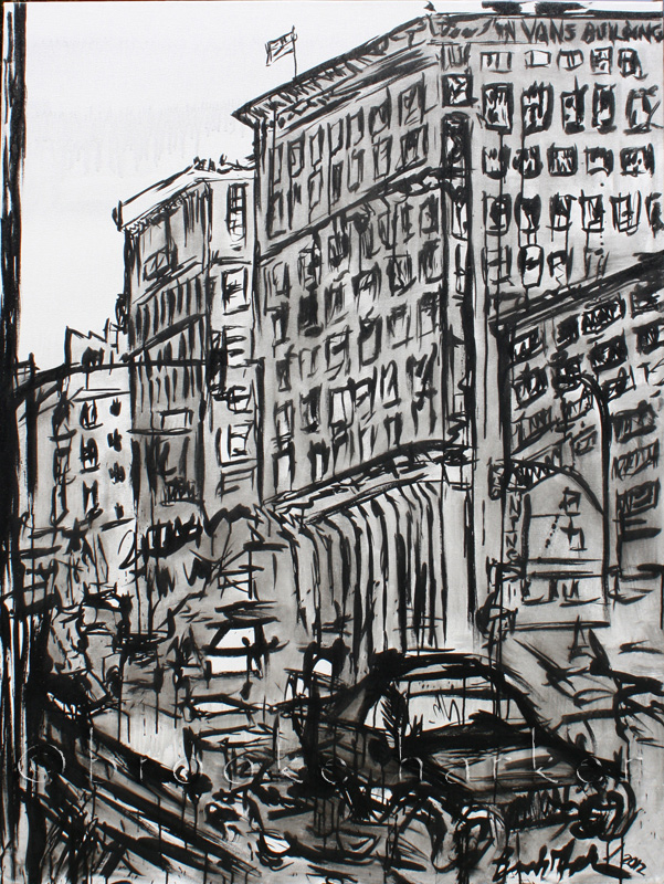 Angel City 2 | 64″ x 48″ x 2″| ink & acrylic on canvas | by Brooke Harker | SOLD