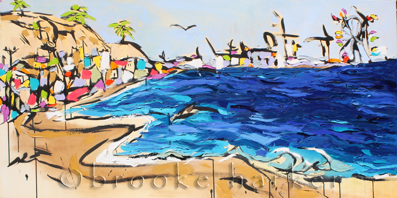 Coastal Dreaming | 30″ x 60″ x 1.75″ | ink, oil & acrylic on canvas | by Brooke Harker | SOLD