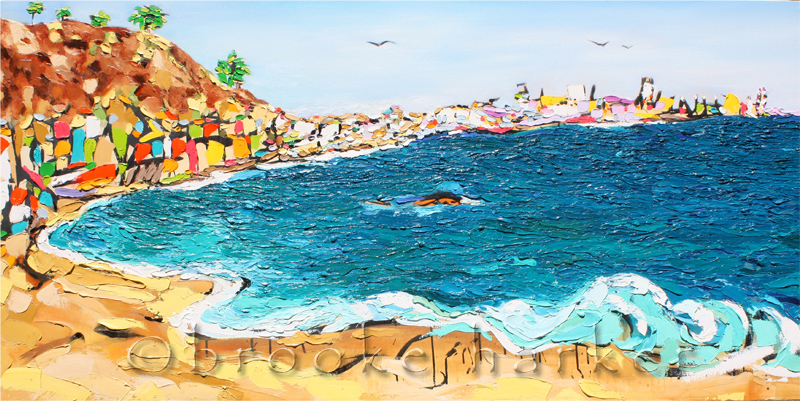 Coastal Dreaming 2 | 30″ x 60″ x 2″ | ink, oil & acrylic on canvas | by Brooke Harker | SOLD