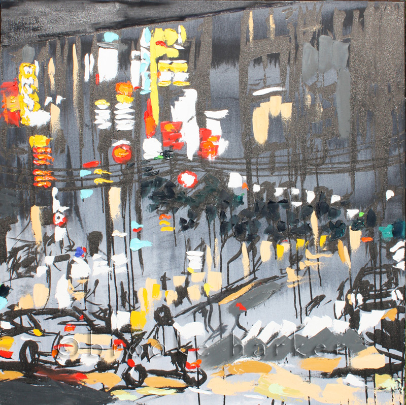 Tokyo Night 1 | 36″ x 36″ x .75″ | ink, oil & acrylic on canvas | by Brooke Harker | SOLD