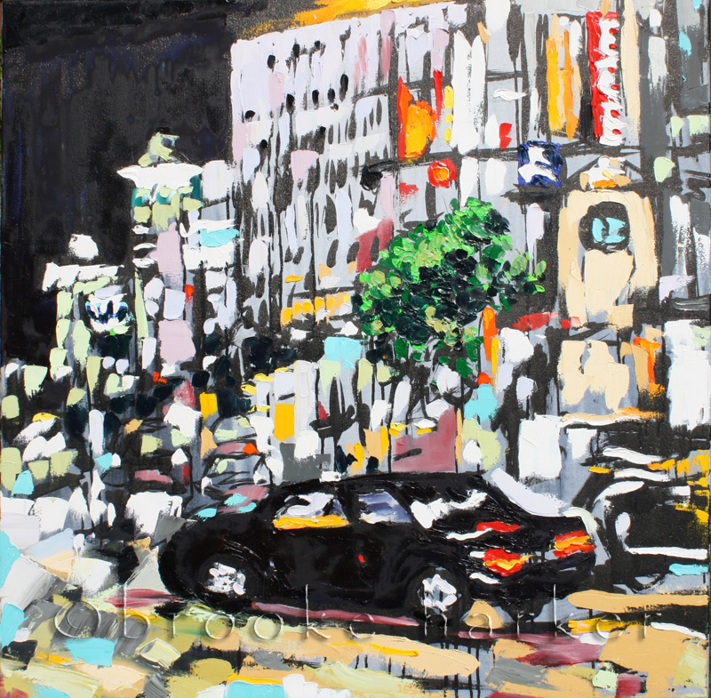 Tokyo Night 2 | 36″ x 36″ x .75″ | ink, oil & acrylic on canvas | by Brooke Harker | SOLD
