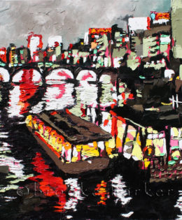 Tokyo Night Boats | 36″ x 36″ x .75″ | ink, oil & acrylic on canvas | by Brooke Harker | SOLD