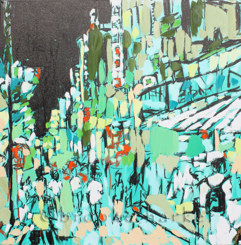 Tokyo Lights | 36″ x 36″ x .75″ | ink, oil & acrylic on canvas | by Brooke Harker