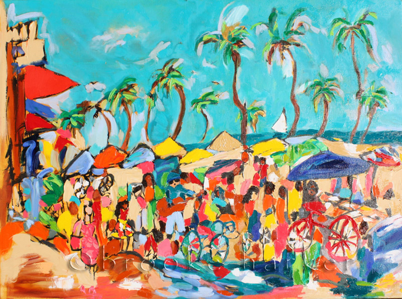 Venice Beat | 36″ x 48″ x .75″ | ink, oil & acrylic on canvas | by Brooke Harker | SOLD