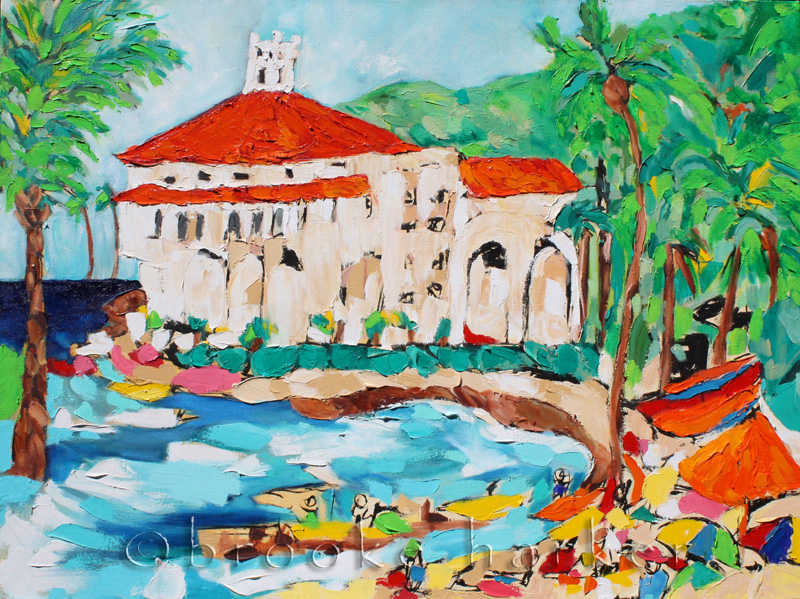 Catalina Casino | 30″ x 40″ | Ink, Oil & Acrylic on Canvas | by Brooke Harker | SOLD