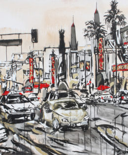 Grauman's Chinese Theater | 60″ x 60″ x 2″ | ink, oil & acrylic on canvas | by Brooke Harker | SOLD