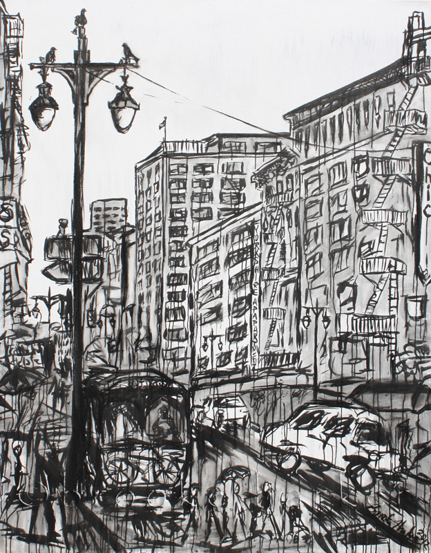 Afternoon Downtown 1 | 84″ x 66″ x 3.75″ | ink & acrylic on canvas | by Brooke Harker | SOLD