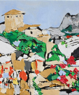Honoring Mostar, Bosnia | 20″ x 34″ x .75″ | ink, oil & acrylic on canvas | by Brooke Harker | SOLD