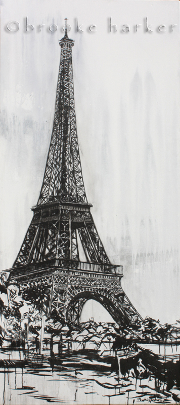 Eiffel Tower | 84″ x 38″ x 2.5″ | ink & acrylic on canvas | by Brooke Harker | SOLD