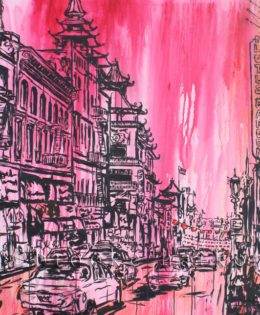Chinatown Skies| 68″ x 50″ x 2.75″ | ink, oil & acrylic on canvas | by Brooke Harker