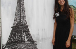 """Brooke Harker with """"Effel Tower"""" at The Beverly Hills Art Show"""
