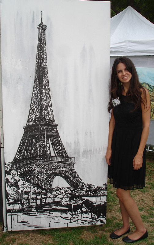 "Brooke Harker with ""Effel Tower"" at The Beverly Hills Art Show"
