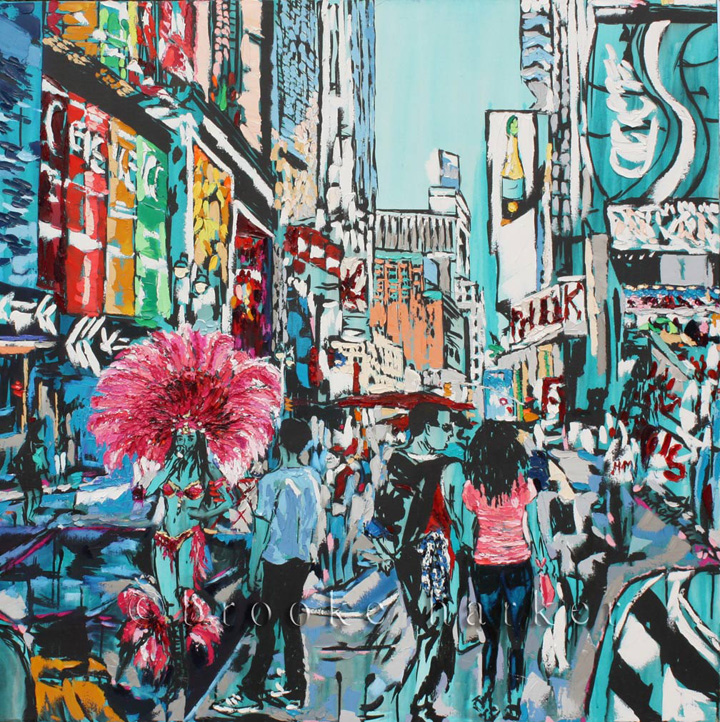 Vacation in the City | 48 x 48 | ink, oil & acrylic on canvas | by Brooke Harker
