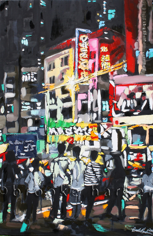Hong Kong Youth | 40″ x 26″ x 2.75″ | ink, oil & acrylic on canvas | by Brooke Harker