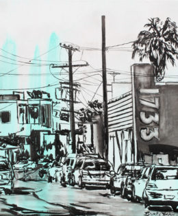 Abbot Kinney 2 | 24″ x 24″ x 2″ | ink & acrylic on canvas | by Brooke Harker
