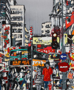 Hong Kong Crossing | 40″x 26″ x 2.75″ | ink, oil & acrylic on canvas | by Brooke Harker