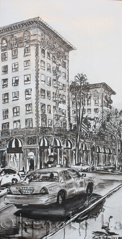Wilshire Taxi 1 | 72″ x 37″ x 2.75″ | ink & acrylic on canvas | by Brooke Harker | SOLD