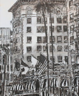 Wilshire Taxi 2 | 72″ x 37″ x 2.75″ | ink & acrylic on canvas | by Brooke Harker | SOLD