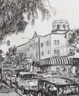 Laguna Streets 1 | 66″ x 46″ x 3.75″ | ink & acrylic on canvas | by Brooke Harker