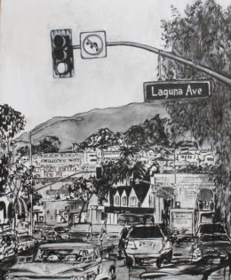 Laguna Streets 2 | 66″ x 46″ x 3.75″ | ink & acrylic on canvas | by Brooke Harker | SOLD