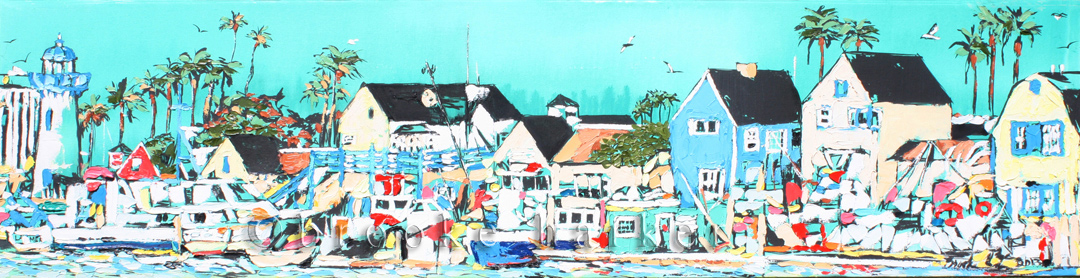 Coastal Town | 18″ x 72″ x 2.75″ | ink, oil & acrylic on canvas | by Brooke Harker | SOLD