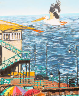 Flight of the Pelican | 54″ x 36″ x 2.75″ | ink, oil & acrylic on canvas | by Brooke Harker | SOLD
