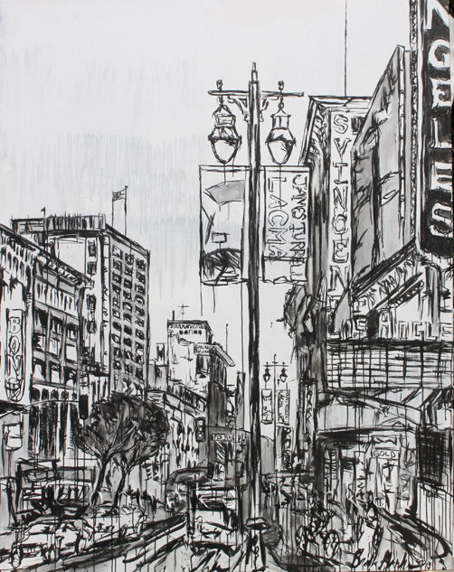 Waking the City | 84 x 66 x 3.75 | ink & acrylic on canvas | by Brooke Harker