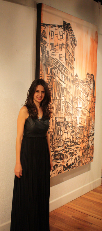 artist Brooke Harker with 7ft painting of Soho, New York