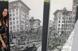 Brooke Harker with paintings of The Beverly Wilshire Hotel