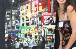 """artist Brooke Harker with """"Hong Kong Youth"""" at the Beverly Hills Art Show"""