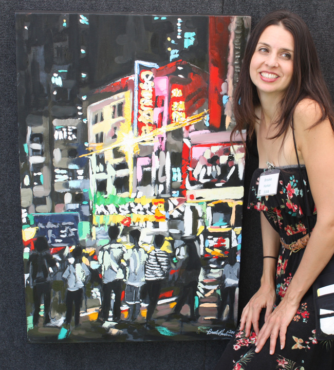 "artist Brooke Harker with ""Hong Kong Youth"" at the Beverly Hills Art Show"