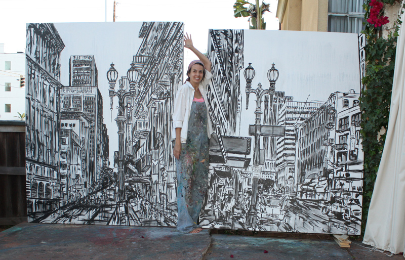 artist Brooke Harker with original paintings Street Lamps of LA 1 & 2