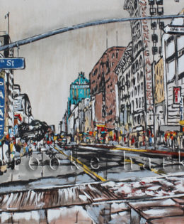 Broadway & 6th | 46 x 90 x 3.75 | ink, oil & acrylic on canvas | by Brooke Harker