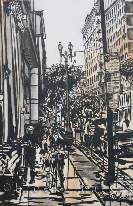 Angels in the City | 40 x 26 | ink & acrylic on canvas | SOLD