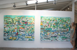 artist Brooke Harker after install of Avalon paintings at Malibleu Gallery