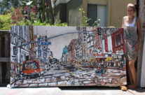 """artist Brooke Harker with """"Broadway & 6th"""""""