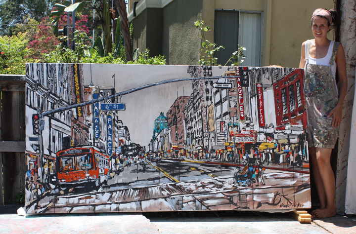 "artist Brooke Harker with ""Broadway & 6th"""