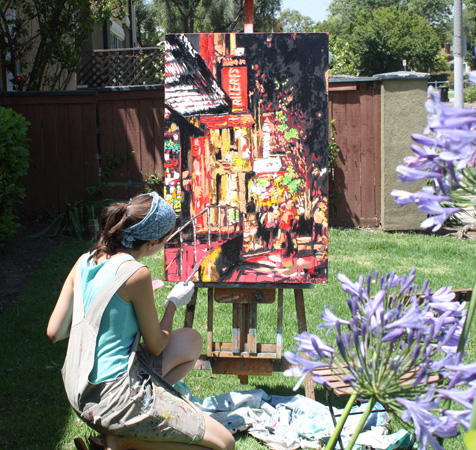 "artist Brooke Harker painting ""Brooklyn Night Stroll"""