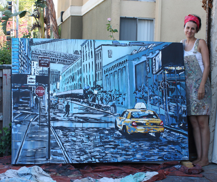 "artist Brooke Harker with ""Brooklyn at Dusk"""